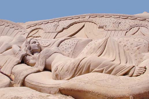 sand sculpture at puri beach festival